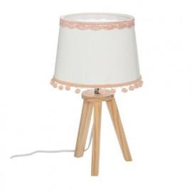 Lampe Pied Bois Et Pompons...