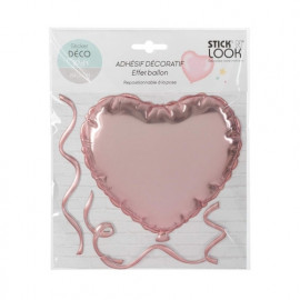 Sticker ballon coeur Rose