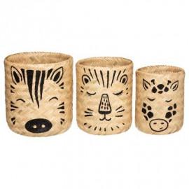 Lot De 3 Paniers En Bambou...